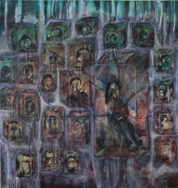 kamala-ishaq_-women-in-crystal-cubes_1984_aware_women-artists_artistes-femmes-710x750